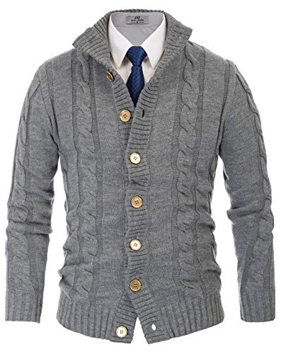 Paul Jones Men's Basic Cable Knitted Cardigan Sweater Twisted Pattern XL Grey
