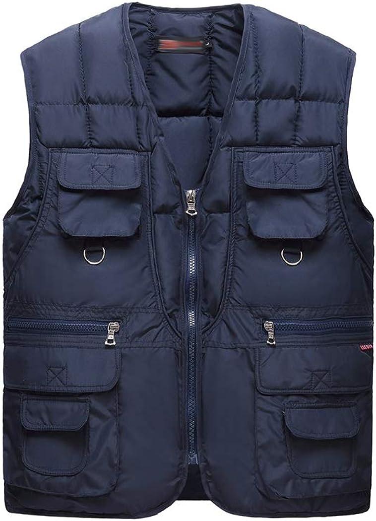 Hixiaohe Men's Winter Warm Puffer Vest Sleeveless Quilted Outwear Jacket Pockets