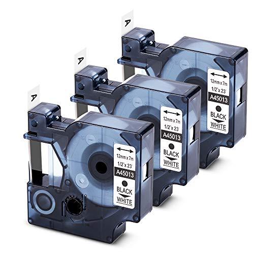 COLORWING Kompatibel Schriftband als Ersatz für Dymo D1 45013 Etikettenband S0720530 für Dymo LabelManager 160 Labelpoint 150 Labelwriter 450 Duo, 12mm x 7m Schwarz auf Weiß Beschriftungsband,3-Pack