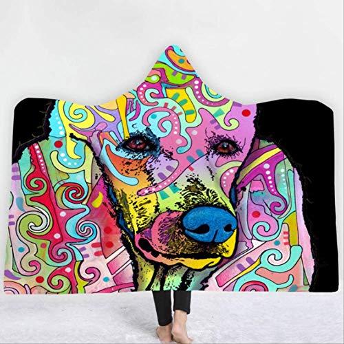 DitiaoBlanket hond dierenprint met capuchon deken, mode kinderen met capuchon deken winter warm, voor slaapbanken reizen vliegtuig
