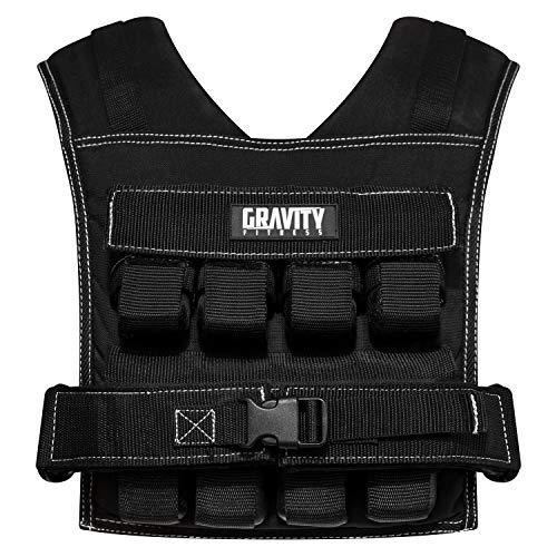 Gravity Fitness Unisex vikt väst – 15 kg–20 kg–helt justerbar. Calisthenics, crossfit, styrketräning, hem och kommersiellt bruk. (20), svart, en storlek