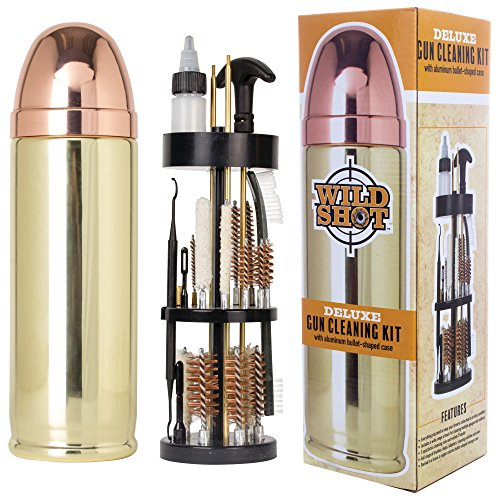 Wild Shot Deluxe Gun Cleaning Kit with Aluminum Bullet-Shaped Storage Case,...