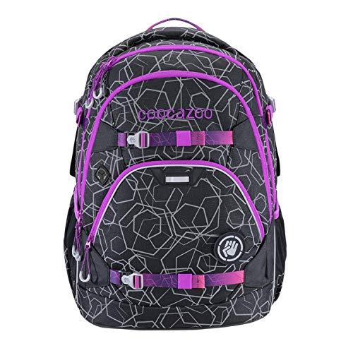 """coocazoo Schulrucksack ScaleRale """"Laserreflect Berry"""" schwarz-pink, ergonomischer Tornister, höhenverstellbar mit Brustgurt und Hüftgurt für Jungen ab der 5. Klasse, 30 Liter"""