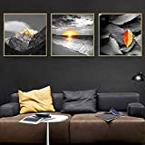 Rudxa Sea Wave Mountain Leaves Landscape Picture Canvas Painting Wall Art Poster for Living-50x50cmx3 sin Marco