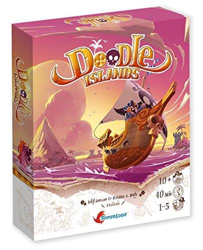 Superlude–Doodle Islands Juego de tablero, sl7111, 0 , color/modelo surtido