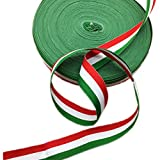 italian flag stripe tape - 1 Inch Width Grosgrain Stripes Ribbon American Flag Patriotic Ribbon for Independence Day Party Decoration 50 Yards (Red White and Green)