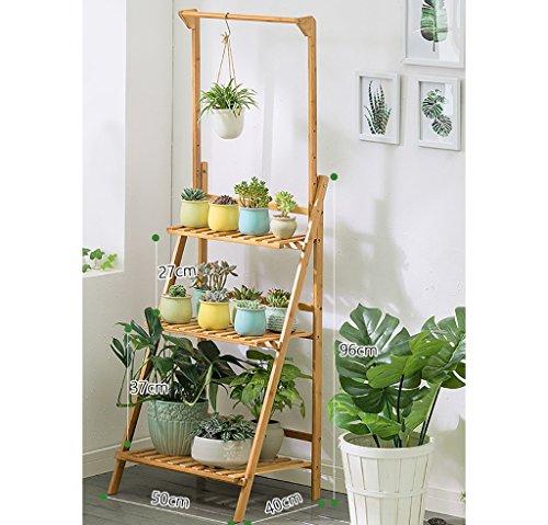 3 niveaux pliant bambou support fleur plante pot affichage étagère échelle jardin extérieur (taille : 50 * 40 * 96CM)