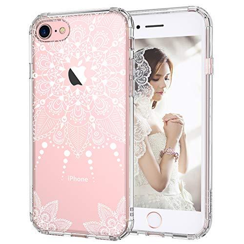 iPhone 7 Hülle, iPhone 7 Hülle Durchsichtig, MOSNOVO Weiß Henna Mandala Spitze Blumen Klar Muster Transparent TPU Bumper mit Hart Plastik Durchsichtig Schutzhülle für iPhone 7 (4,7 Zoll) (White Henna)