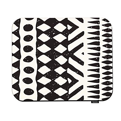 Swono Aztec Print Mouse Pads Native Tribal Design Geometric Ethnic Stripe Lines Black White Mouse Pad for Laptop Funny Non-Slip Gaming Mouse Pad for Office Home Travel Mouse Mat 7.9'X9.5'