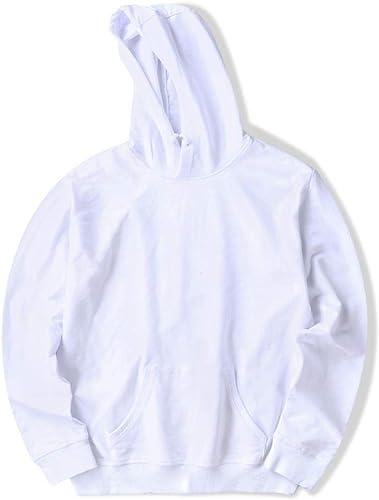 Gangkun Pull à la Mode Tendance à Capuche pour Hommes Pull pour Hommes Blanc Pull en Laine Polaire Pull Pull S_ Blanc
