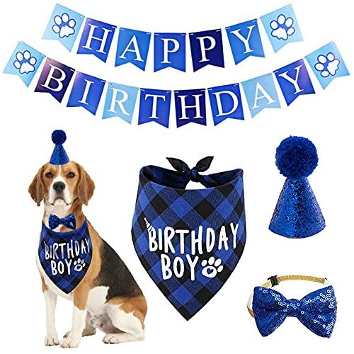 Dog Birthday Bandana Hat Scarf Set, Dog Birthday Party Supplies Dog Bandana Hat Scarfs Happy Birthday Banner with Cute Dog Bow Tie Collar Boy Girl Puppy Birthday Hat Scarf classic plaid design for Dog