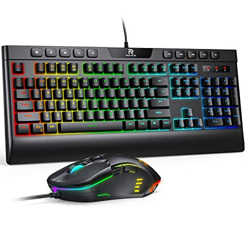 RUNMUS Gaming Keyboard and Mouse Combo, LED Rainbow Backlit, Wired 104 Keys Keyboard with Wrist Rest and Customized Programmable Macro, 6400DPI Mouse