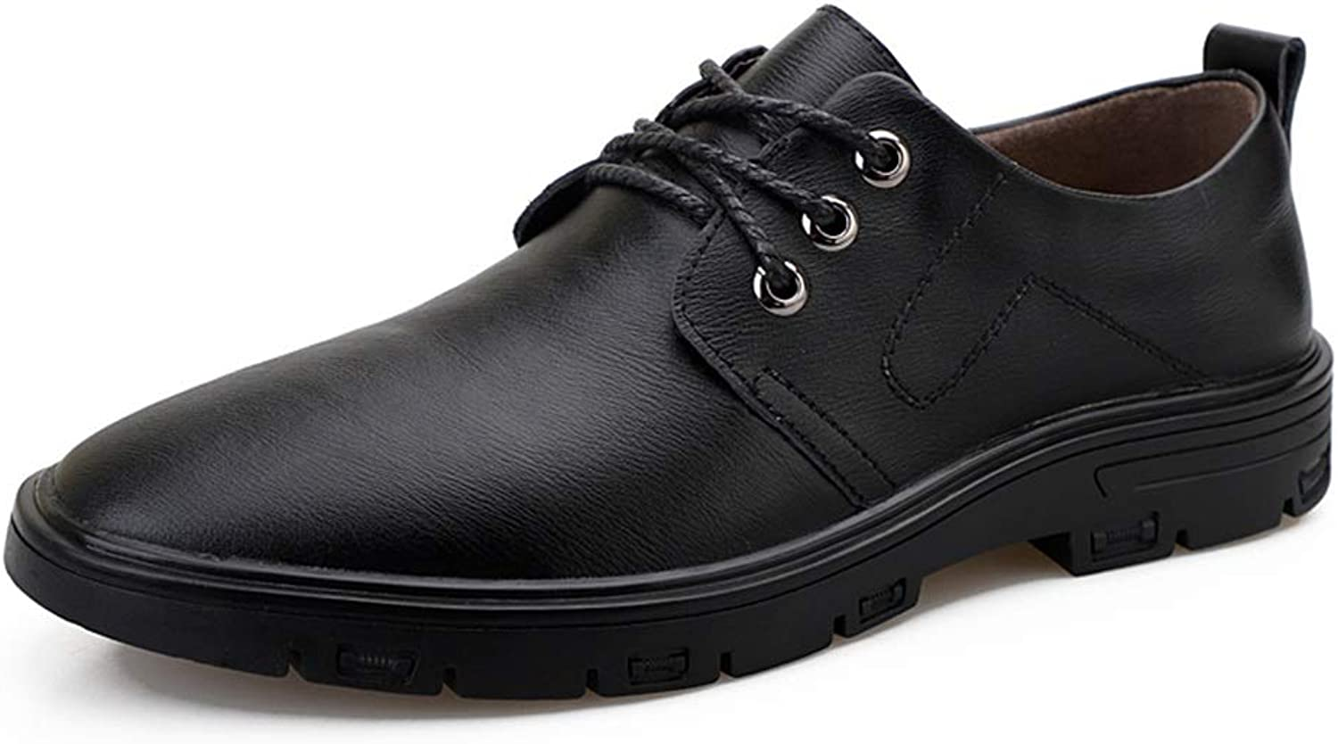 JUJIANFU-shoes Oxford shoes for Men Stately shoes Lace Up Style OX Leather Classic Solid color Insouciant Business Outsole