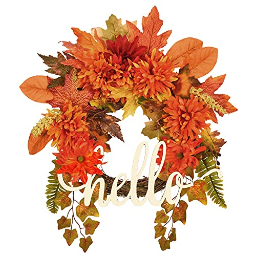 MARTINE MALL Fall Wreath 17.7'' Silk Fall Door Wreath Artificial Autumn Daisy Wreath Floral Autumn Wreath for Front Door, Thanksgiving Wedding Halloween Indoor Outdoor Decor