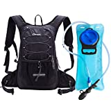 Dtown Hydration Backpack for Hiking Biking or Running with 2L Water Bladder (Black)