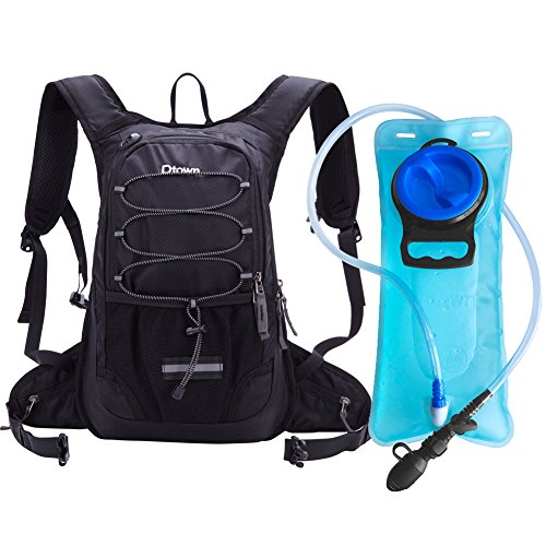 Dtown Hydration Backpack with 2L BPA Free Water Bladder, Water Backpack for Hiking, Cycling, Camping, Biking or Running - Keep Liquid Cool up to 4 Hours(Black)