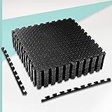 ZERRO CCLIFE Esterilla Puzzle para Suelos de Gimnasio y Fitness 60x60x1cm Suelo de Gimnasio de Goma Espuma EVA, Color:Negro 16pcs