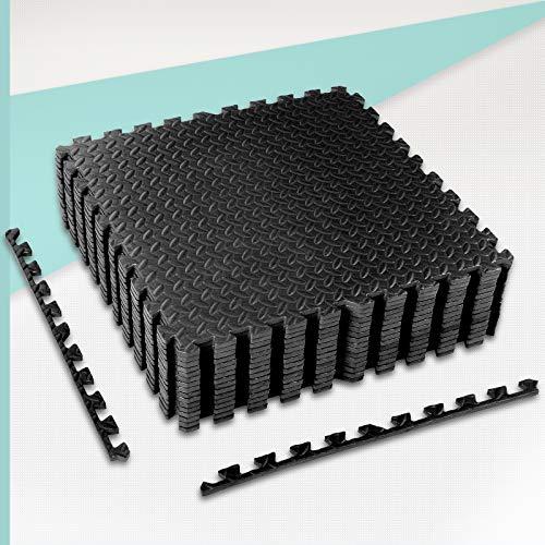 CCLIFE Esterilla Puzzle de Fitness 60x60x1cm 30x30x1cm Suelo de Gimnasio de Goma Espuma EVA, Color:Negro 16pcs 60x60x1cm