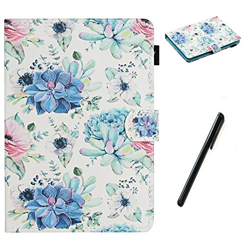 HereMore Universal Case for 8 Inch Tablet with Pen, Leather Stand Cover Protective Shell for Fire HD 8,Huawei MediaPad T3 8,Samsung Galaxy Tab A8, Acer Iconia One 8 B1-870,Lenovo Tab E8, Flower