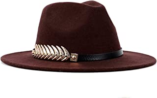 Hat Fashion Pork Pie Hat Wild Color Hat Gold Round Fedora Hat Tide Male British Flat Top Women's Shoes Fashion Accessories (Color : Brown, Size : 57-58cm)