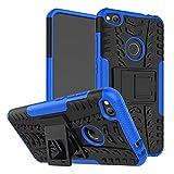 LiuShan Huawei P8 Lite 2017 / Honor 8 Lite Funda, Heavy Duty Silicona Híbrida Rugged Armor Soporte Cáscara de Cubierta Protectora de Doble Capa Caso para Huawei P8 Lite 2017 / Honor 8 Lite,Azul