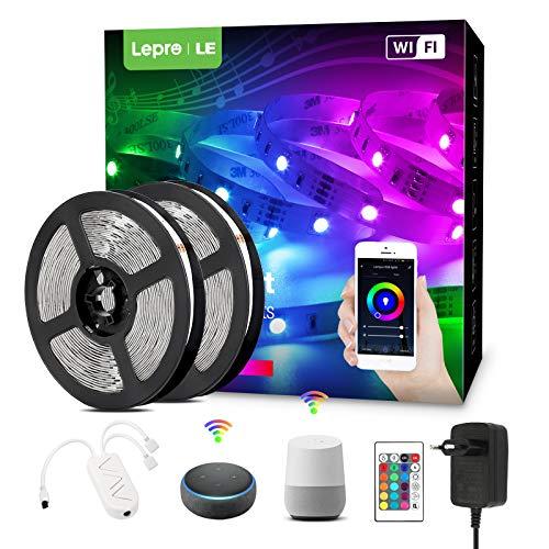 Lepro LED Strip 10M(2x5M) mit Musik, Alexa LED Streifen Lichterkette, Smart Band Lichter, Wifi RGB Dimmbar Lichtleiste Light, Lichtband Leiste Kompatibel mit Google Home, nur 2.4GHz