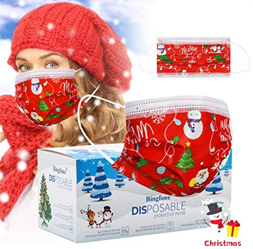 Christmas Disposable Masks for Women-3 Layer Mask with Elastic Earloops Nose Wire Red Christmas Design Disposable Masks 50pcs for Adults Women Men