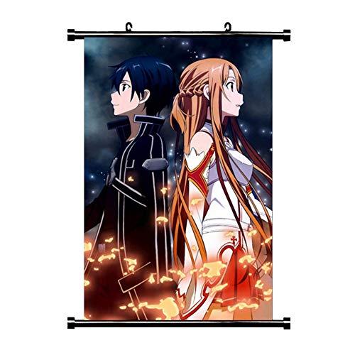 lunanana Sword Art Online Poster - Anime SAO Rollbild/Kakemono Wall Scroll Dekorative Wandbild Stoff Poster Hängendes Plakat, 30x45cm(H01)