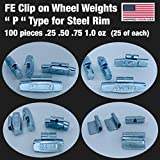 Gallardo Tire Products   100 Pcs   P Type   FE Clip ON Wheel Weights .25 .50 .75 1.0 (25 of Each) for Steel Rims