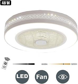 ACHNC Moderno Ventilador de Techo Niños Con Lámpara,48W LED Luz de Techo Regulable Con Ventilador Invisible Dormitorio Salon Ventilador de Techo Silencioso Con Mando a Distancia Temporizador