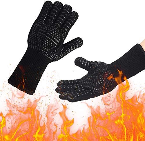 Gants de Barbecue, Gants de Four Anti-Chaleur Jusqu'à 800°C Universel Gants de Cuisine Résistant à la Chaleur et Antidérapants Gants pour BBQ Grill Four Cuisine et Cheminée, Noir, 1 Paire
