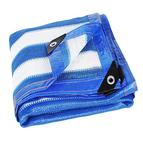 shade net LDFZ schaduwnet blauw wit - UV-bestendig schaduw doek - oogjes met sluitringen - buiten/terras/tuin/achtertuin/carport/strand/dek
