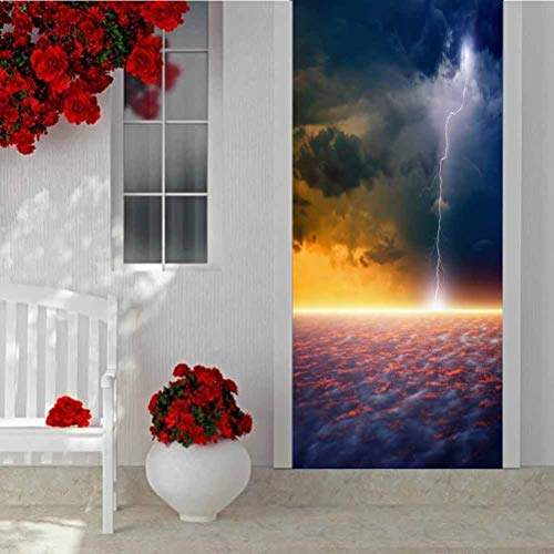 3D Door Wallpaper Murals Wall Stickers, Marble Caves of General Carrera Lake Chile, Vinyl Removable Decals for Home Decorative, W30.3 x H78.7 Inch