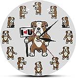Gran decoración de la pared reloj de pared lindo dibujos animados dogo vida diaria impresión pared reloj de pared británico bulldog cachorro reloj sala de estar silencioso no marcado reloj perro amant