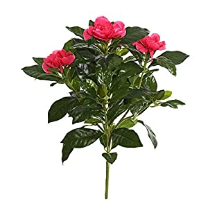 Vickerman 14.5″ Beauty Polyester Gardenia Bush X 3 Features 93 Rich Dark Green Leaves 3 New Growth Buds. Artificial-Flowers, Pink