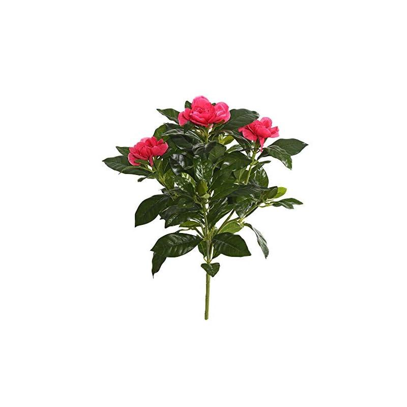 "silk flower arrangements vickerman everyday artificial beauty gardenia flower bush 14.5"" long - premium faux floral decor for wedding or everyday arrangements - maintenance free flowers"