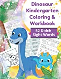 """Dinosaur Kindergarten Coloring & Workbook 52 Dolch Sight Words: Letter tracing workbook & coloring book, ages 3-5, included 52 Dolch sight words, 10 ... large 8.5x11"""" book will make learning fun."""