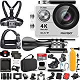 AKASO EK7000 4K Video WiFi Action Camera Ultra HD Waterproof DV Camcorder 12MP 170 Degree Wide Angle LCD (Sage Silver) with Wireless Remote Custom Case Memory Card Sports Camera Starter Kit