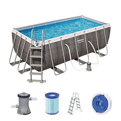 Bestway Power Steel Deluxe 412x201x122 cm, Frame Pool eckig im Komplett Set in Rattan-Optik, inklusive Filterpumpe und Sicherheitsleiter