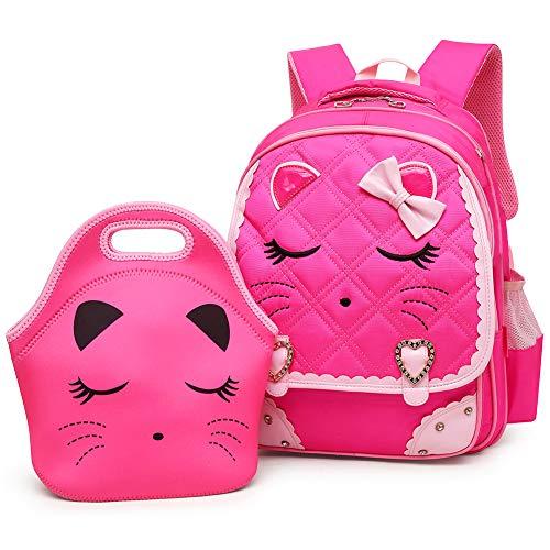 Efree Cute Cat Face Bow Diamond Bling Waterproof Pink School Backpack Girls Book Bag (Large, Rose Set)