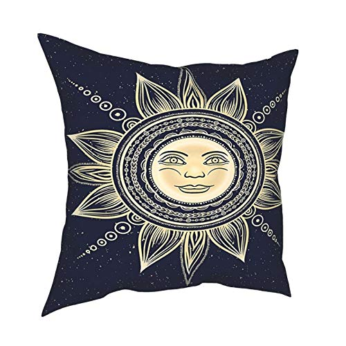 Q&SZ Sweatshirt Psychedelic Vintage Occult Sun with Face Boho Chic Esoteric Solar Spiritual Display Yellow Dark Blue Various Specifications Fashion Pillow - No Inserts Included