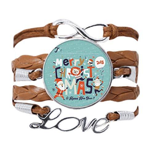 DIYthinker Merry Christmas Tree Reindeer Pattern Bracelet Love Chain Rope Ornament Wristband Gift