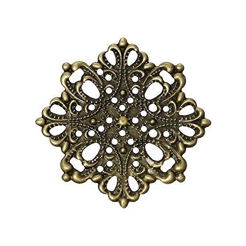 10 Deko-Ornament Blume 44x44mm antikmessing, Metallornament Metall-Verzierung