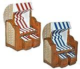 Unbekannt 1 Stück _ 3-D Figur Strandkorb blau / rot weiß - z.B. als Tischdeko - Mini Deko Dekofigur Ostsee Meer Nordsee Maritim Klein - Nordsee Strandkörbe Urlaub Meer