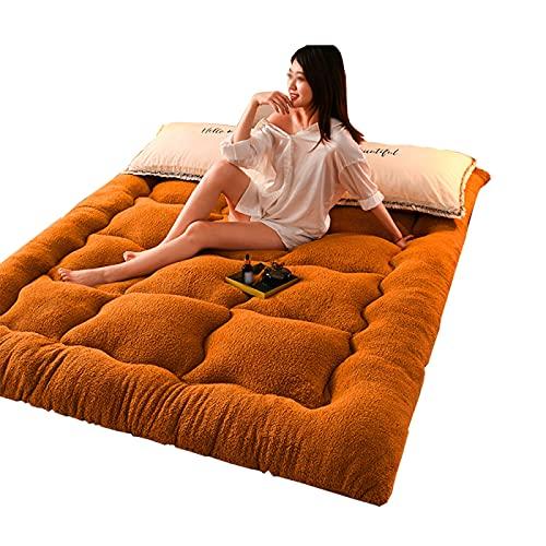 JMBF Colchón de Tatami, colchón de Piso de futón Suave de Tatami Grueso de 10 cm, colchón de Envoltura de Terciopelo mágico Plegable de Tatami Transpirable,Khaki-200x220cm/79x86in