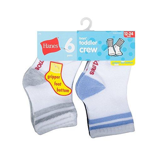 Hanes Crew EZ Sort Socken für Jungen, 6er-Pack, verschiedene Farben, 4T-5T