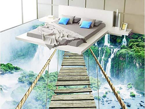 Benutzerdefinierte 3D Boden Kunst Wasserfall Abenteuer Seil Holzbrücke 3D Boden Wandbilder Wasserdichte Tapete Für Badezimmer Pvc-Bodenbelag Rolle-300 * 210Cm