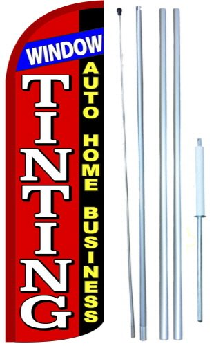 Window Tinting Windless Swooper Tall Feather Banner Flag Kit (11.5' Tall Flag, 15' Tall Hybrid Flagpole, Ground Mount Stake) by The Flag Depot