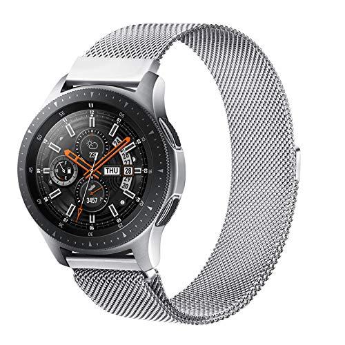 Senka 22mm Metal Correa Compatible con Samsung Galaxy Watch 3 45mm/Galaxy Watch 46mm/Gear S3,Pulseras de Repuesto de Inoxidable para Huawei Watch GT 2 46mm(22mm,Plata)