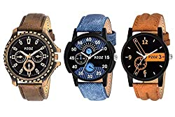 PZOZ Analog Black Dial Mens Watch Combo(Set Of 3)